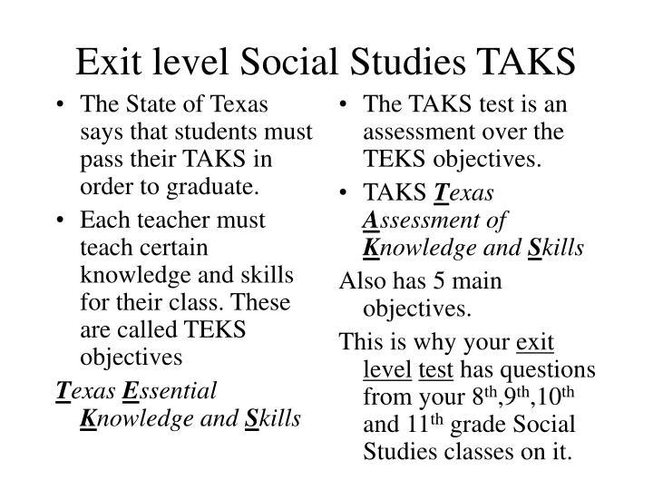 Exit level social studies taks