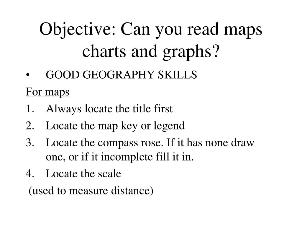 Objective: Can you read maps charts and graphs?