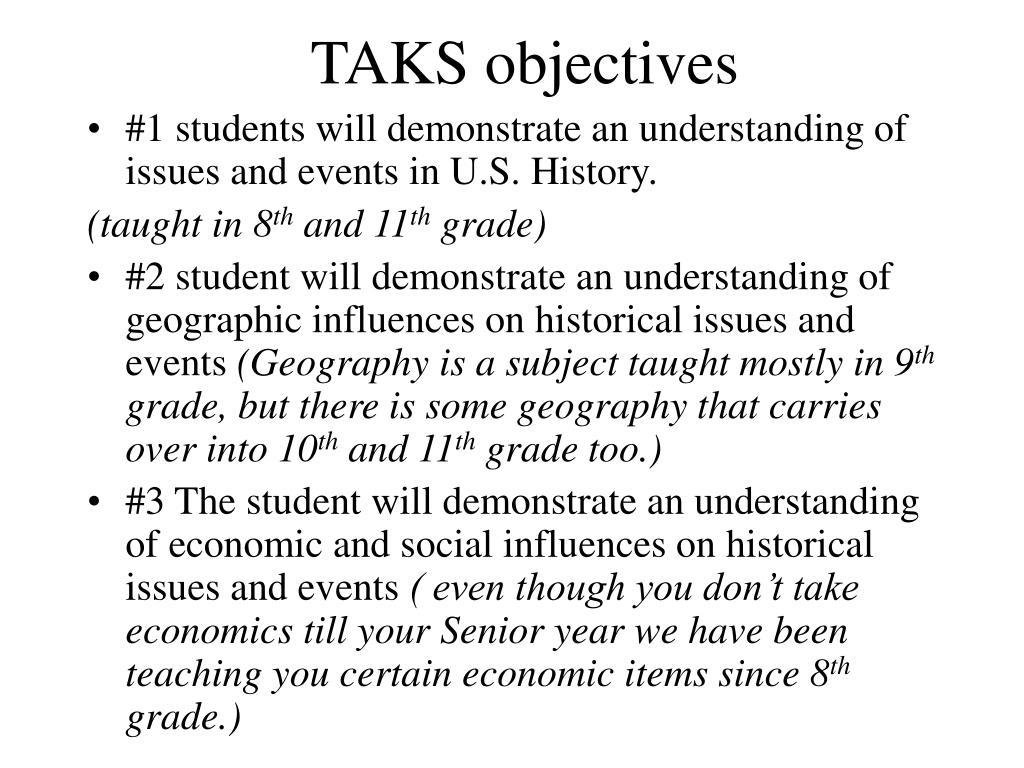 TAKS objectives