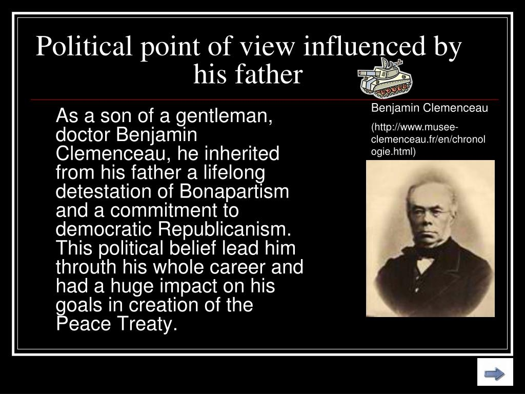 Political point of view influenced by his father