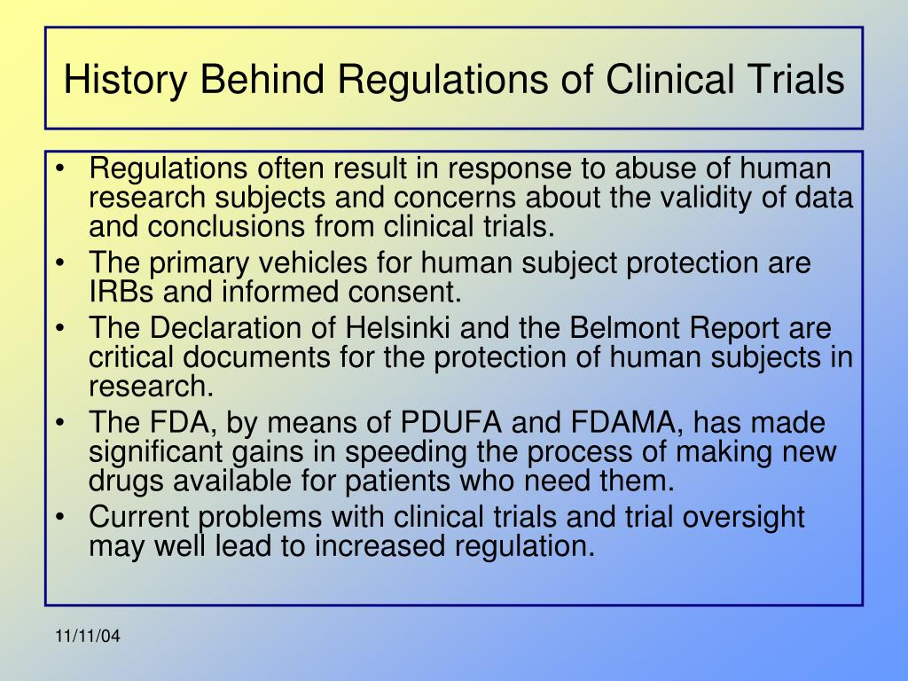 History Behind Regulations of Clinical Trials