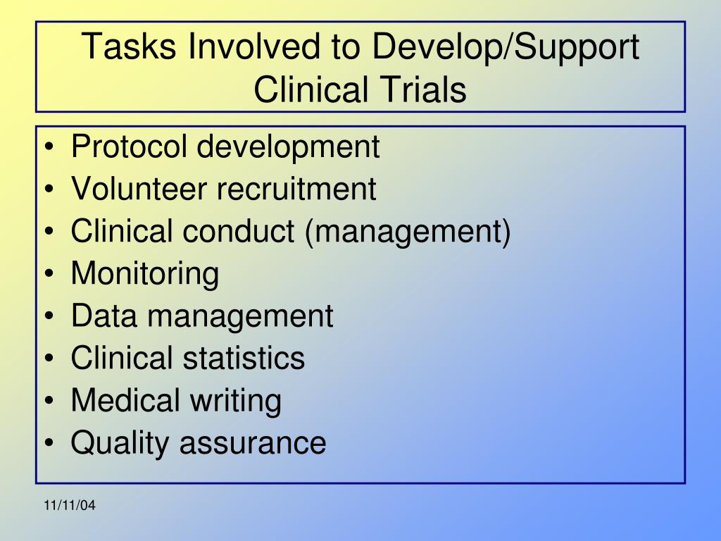 Tasks Involved to Develop/Support Clinical Trials