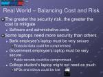 real world balancing cost and risk