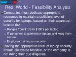 real world feasibility analysis