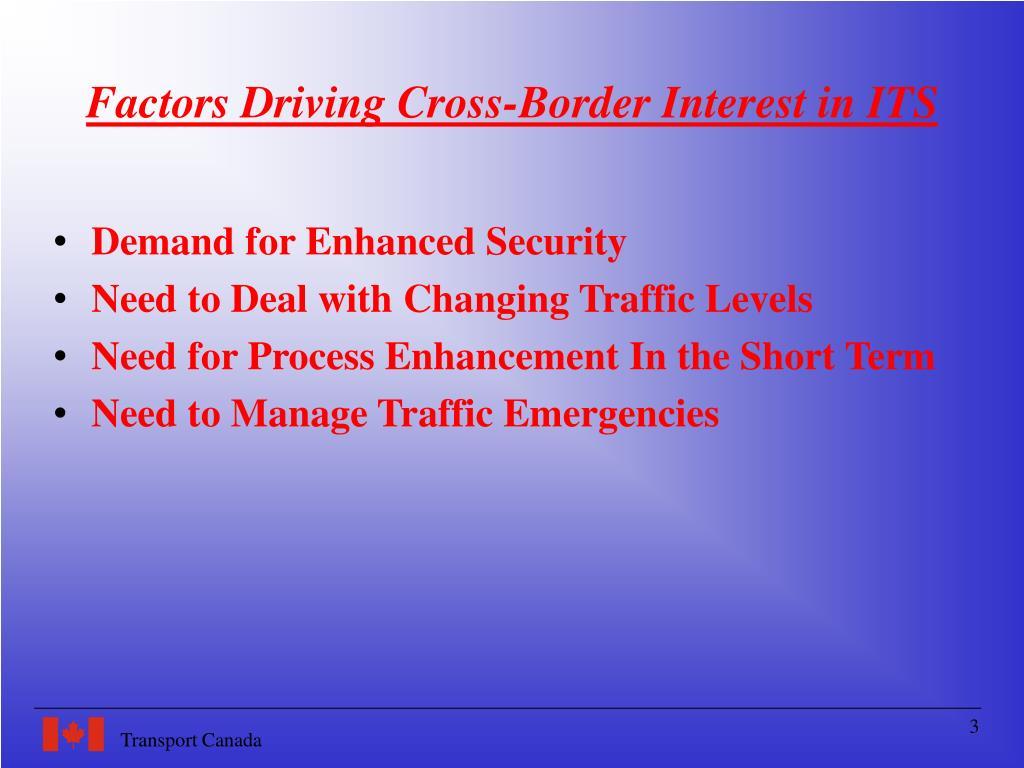 Factors Driving Cross-Border Interest in ITS