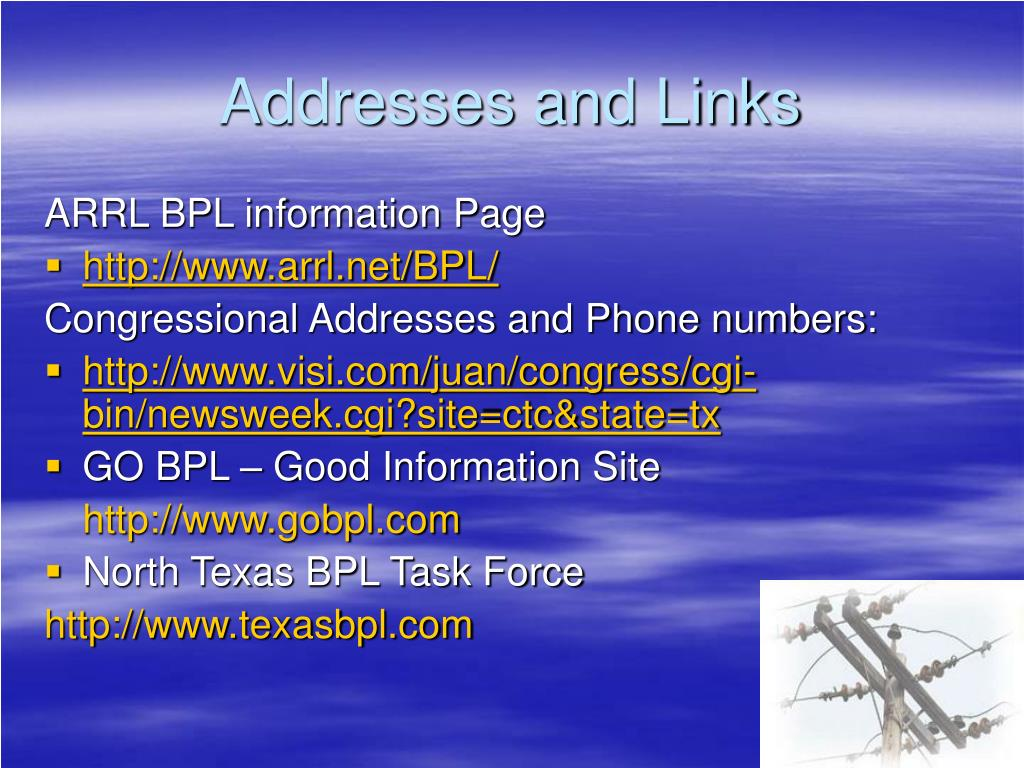 Addresses and Links