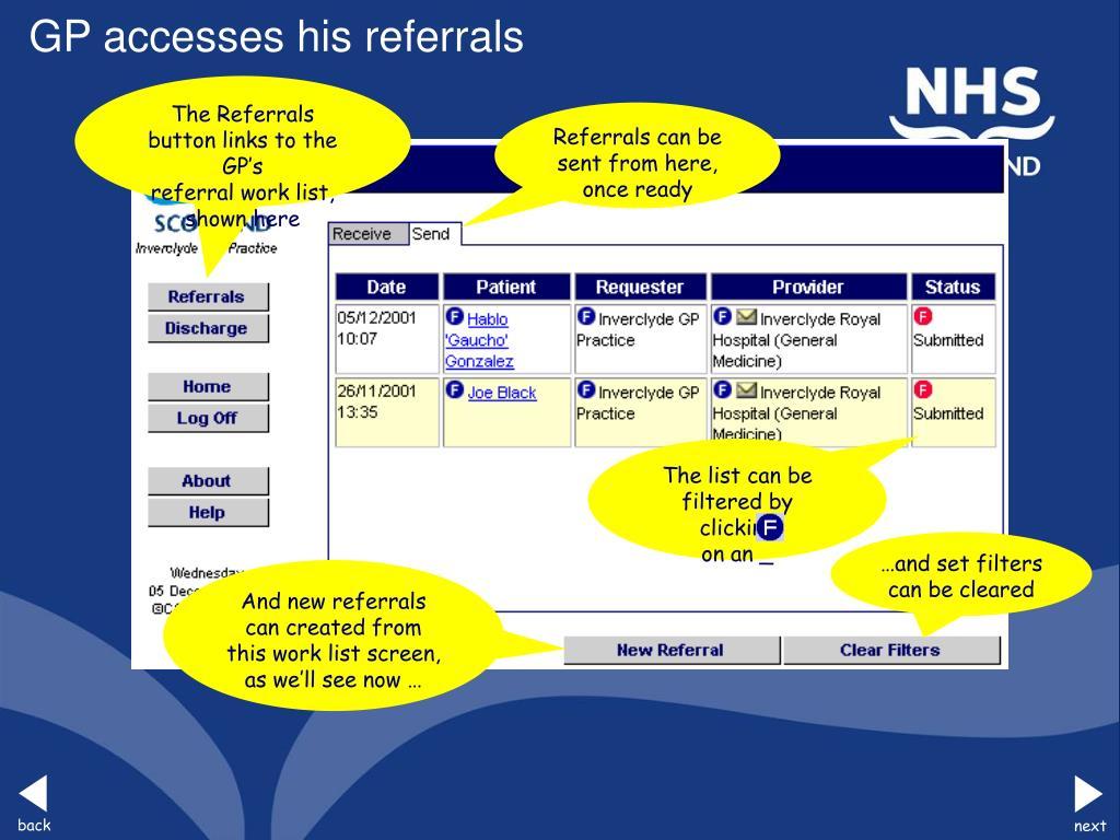 GP accesses his referrals