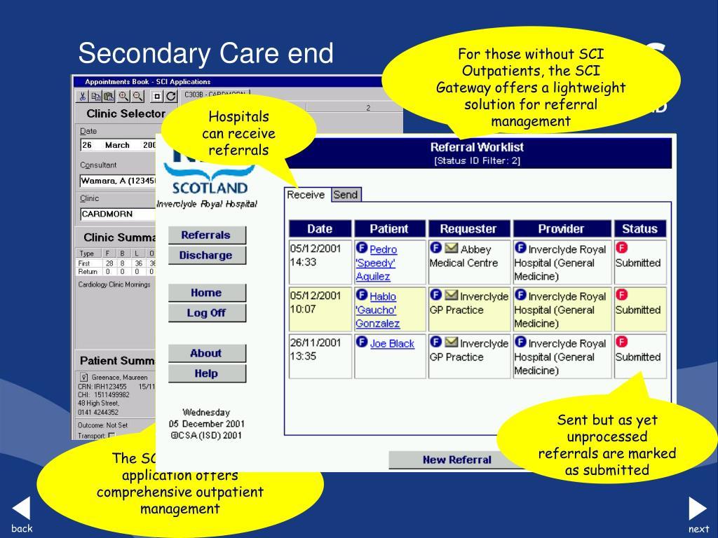 The SCI Outpatients application offers comprehensive outpatient management