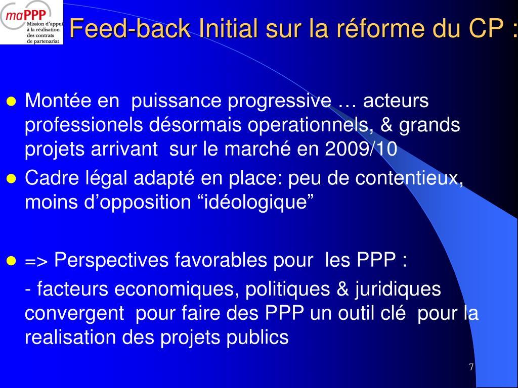 Feed-back Initial sur la réforme du CP :