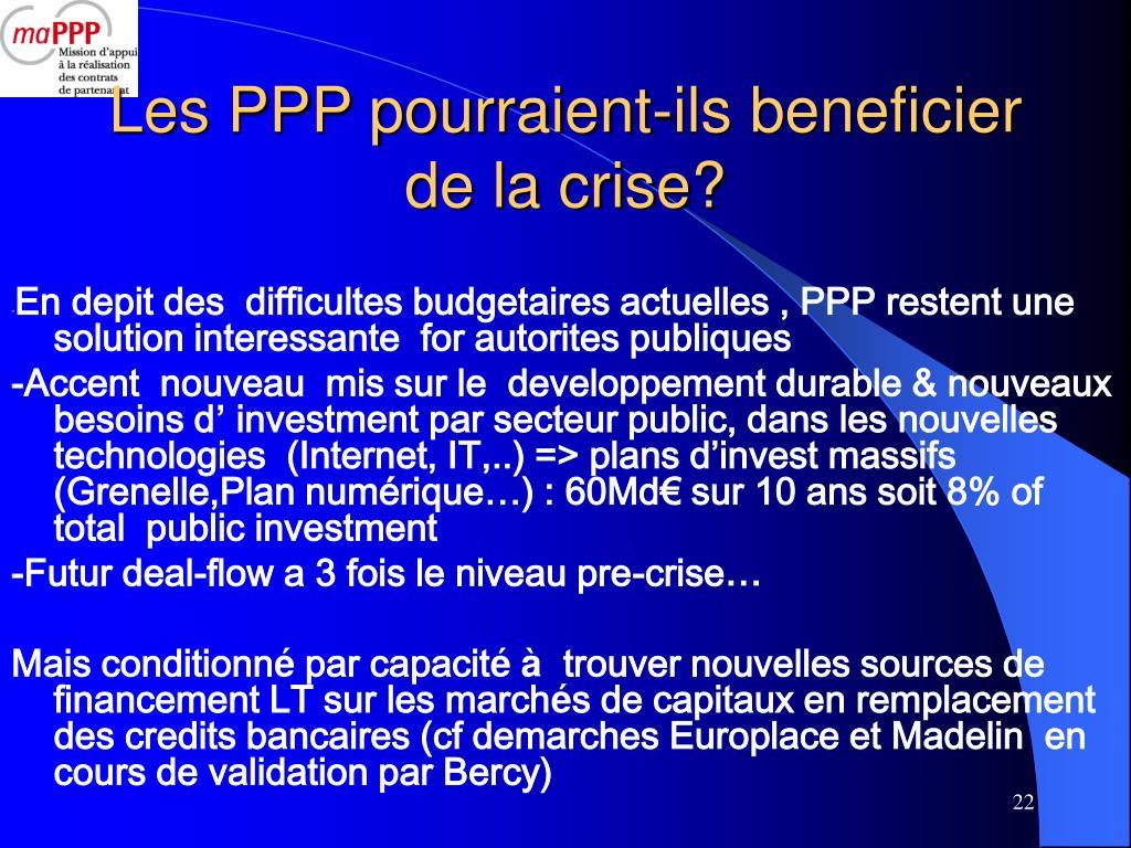 Les PPP pourraient-ils beneficier  de la crise?