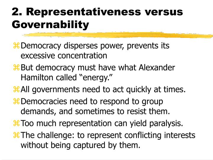 2 representativeness versus governability