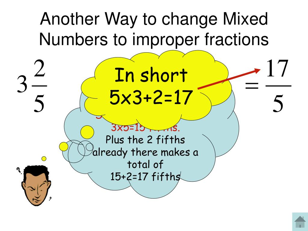 Another Way to change Mixed Numbers to improper fractions