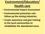 environment education health care