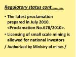 regulatory status cont25
