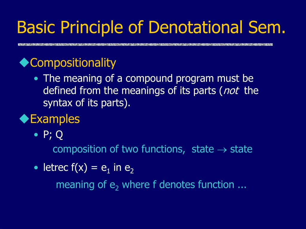Basic Principle of Denotational Sem.