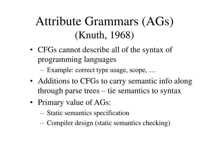 Attribute grammars ags knuth 1968