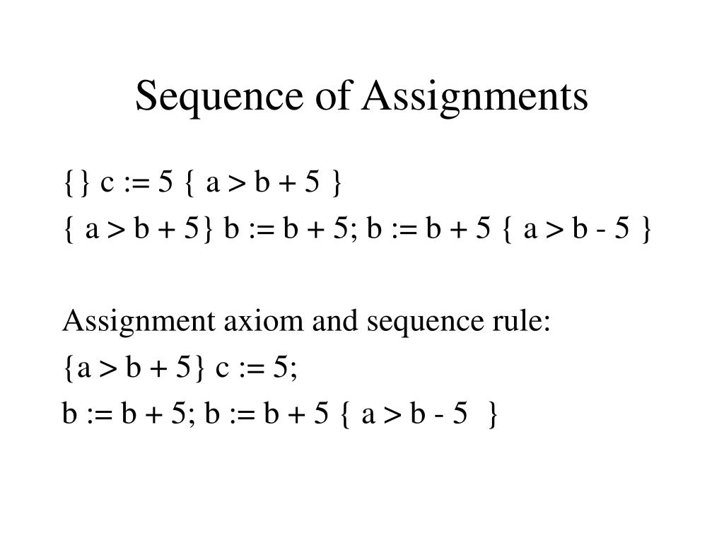 Sequence of Assignments