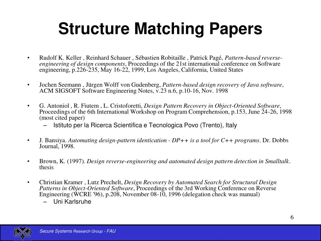 Structure Matching Papers