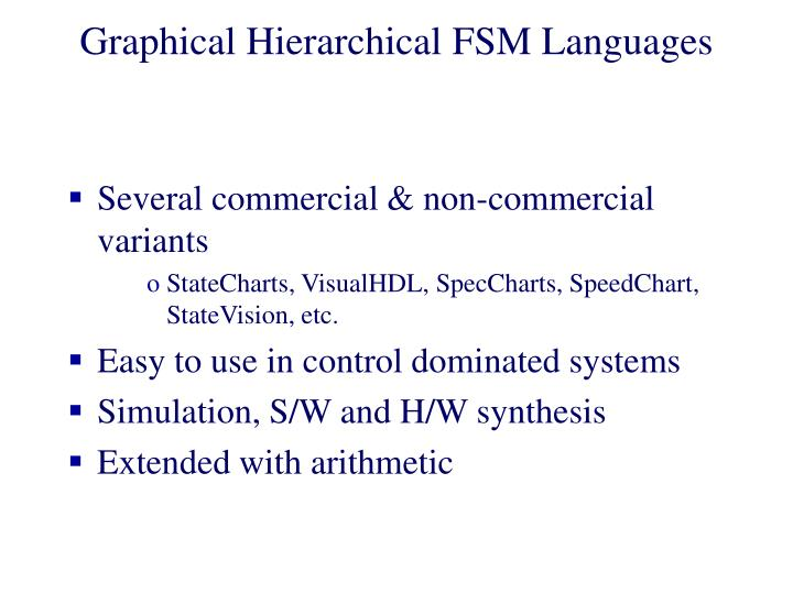 Graphical Hierarchical FSM Languages