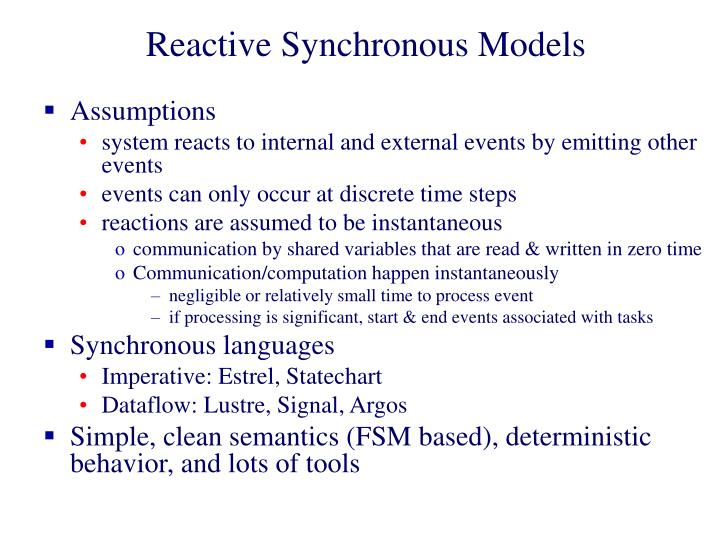 Reactive Synchronous Models