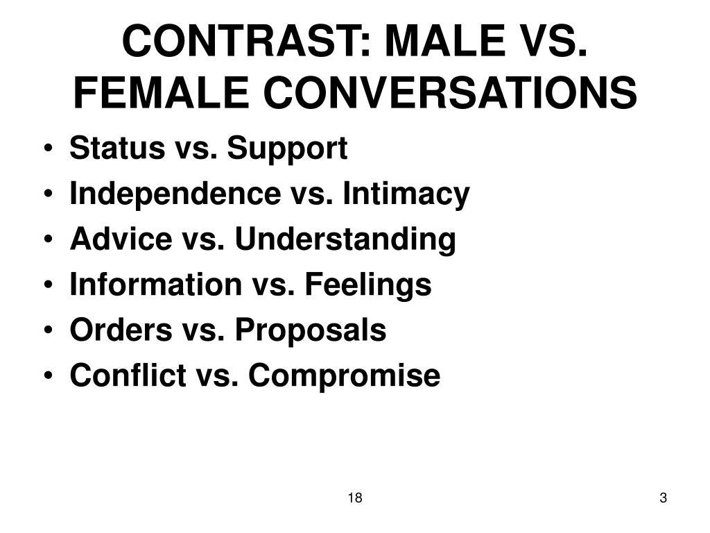 CONTRAST: MALE VS. FEMALE CONVERSATIONS