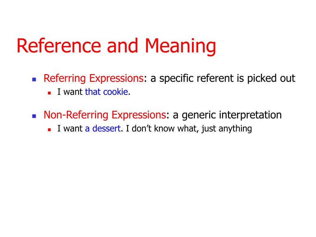 Reference and Meaning