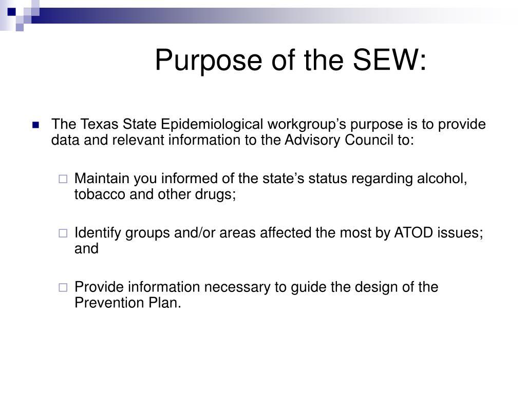 Purpose of the SEW: