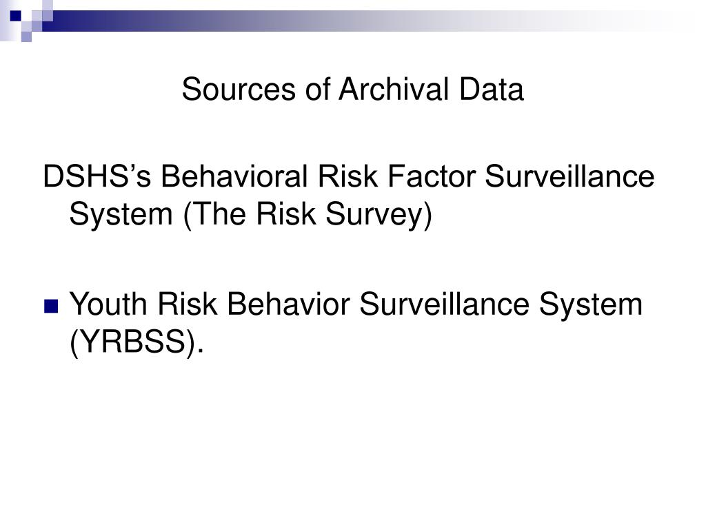 Sources of Archival Data