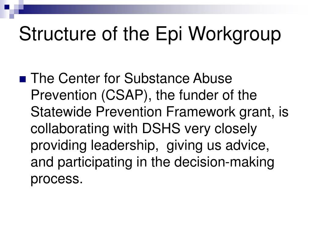 Structure of the Epi Workgroup