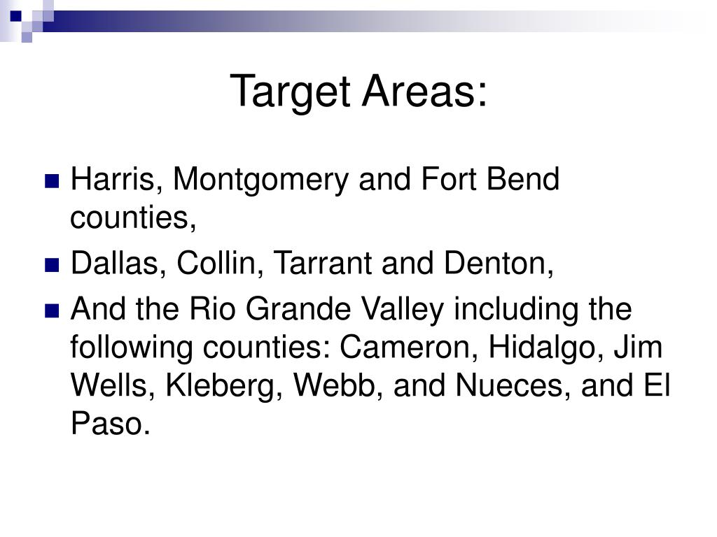 Target Areas: