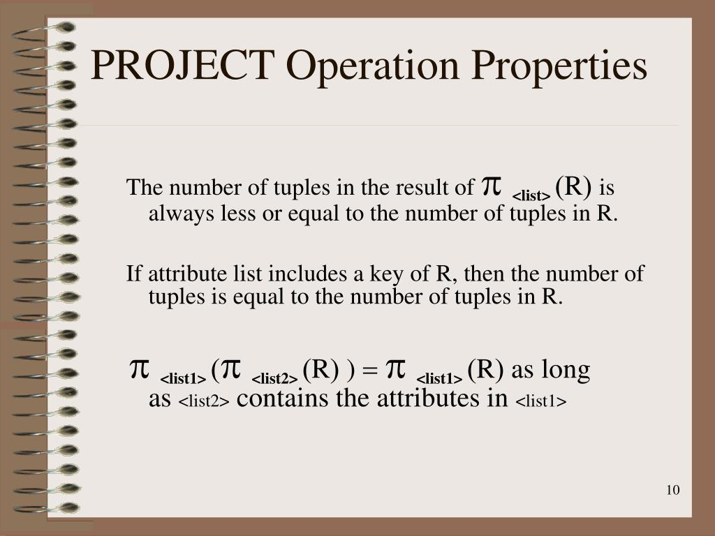 PROJECT Operation Properties