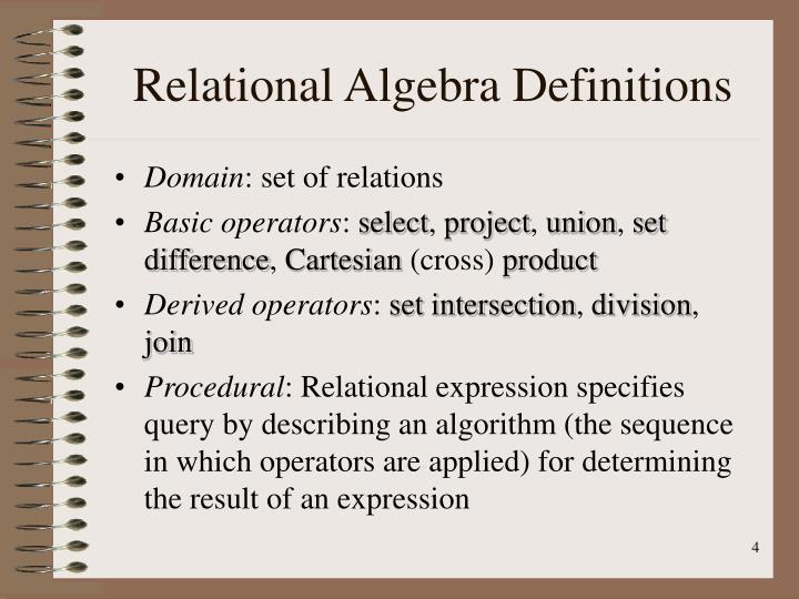 Relational algebra definitions