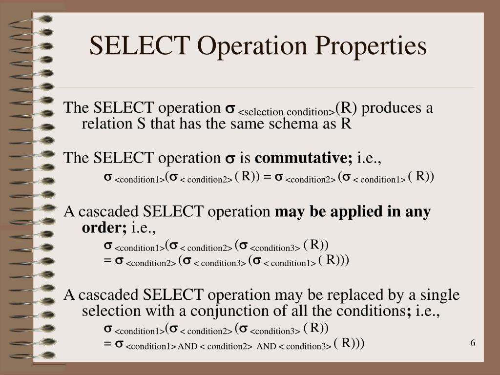 SELECT Operation Properties