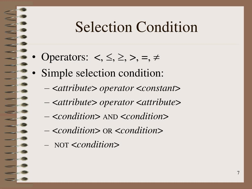 Selection Condition