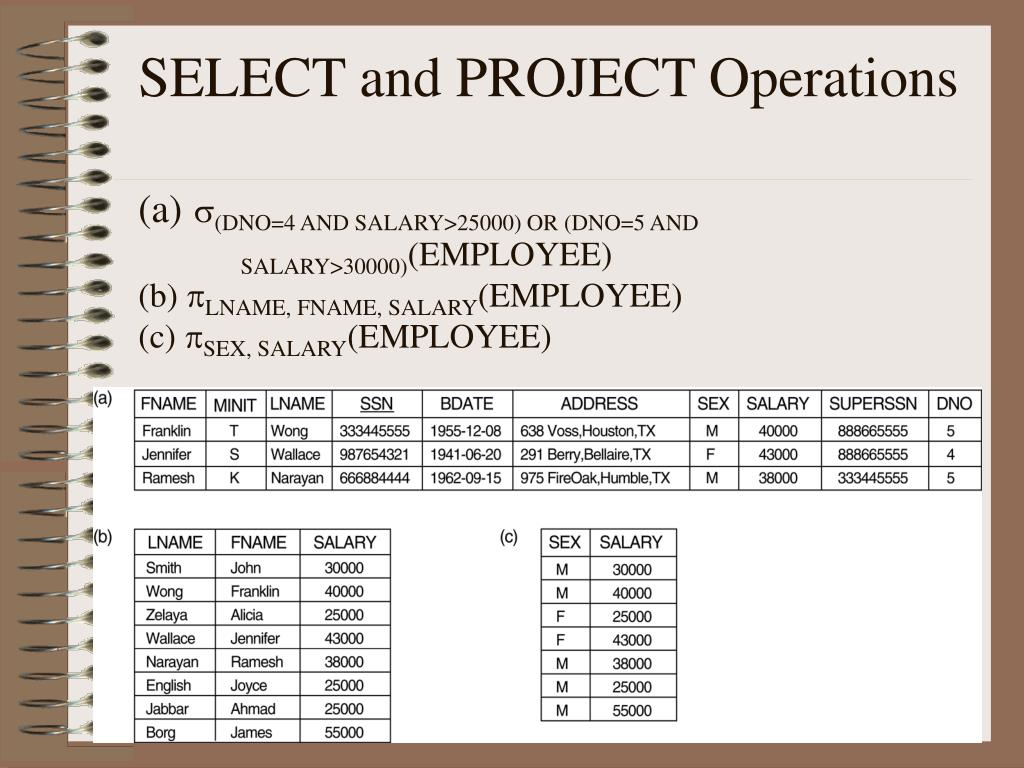 SELECT and PROJECT Operations