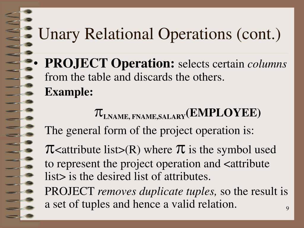 Unary Relational Operations (cont.)