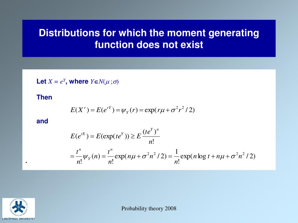 Distributions for which the moment generating function does not exist