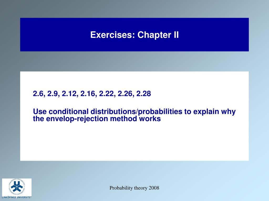 Exercises: Chapter II