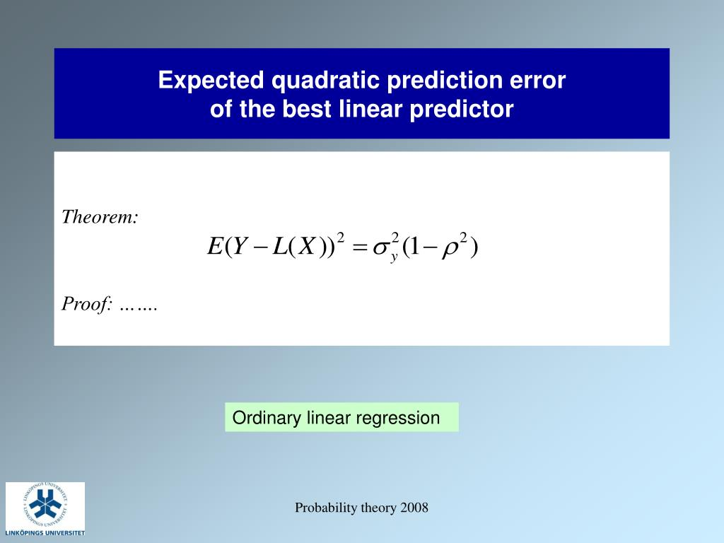 Expected quadratic prediction error