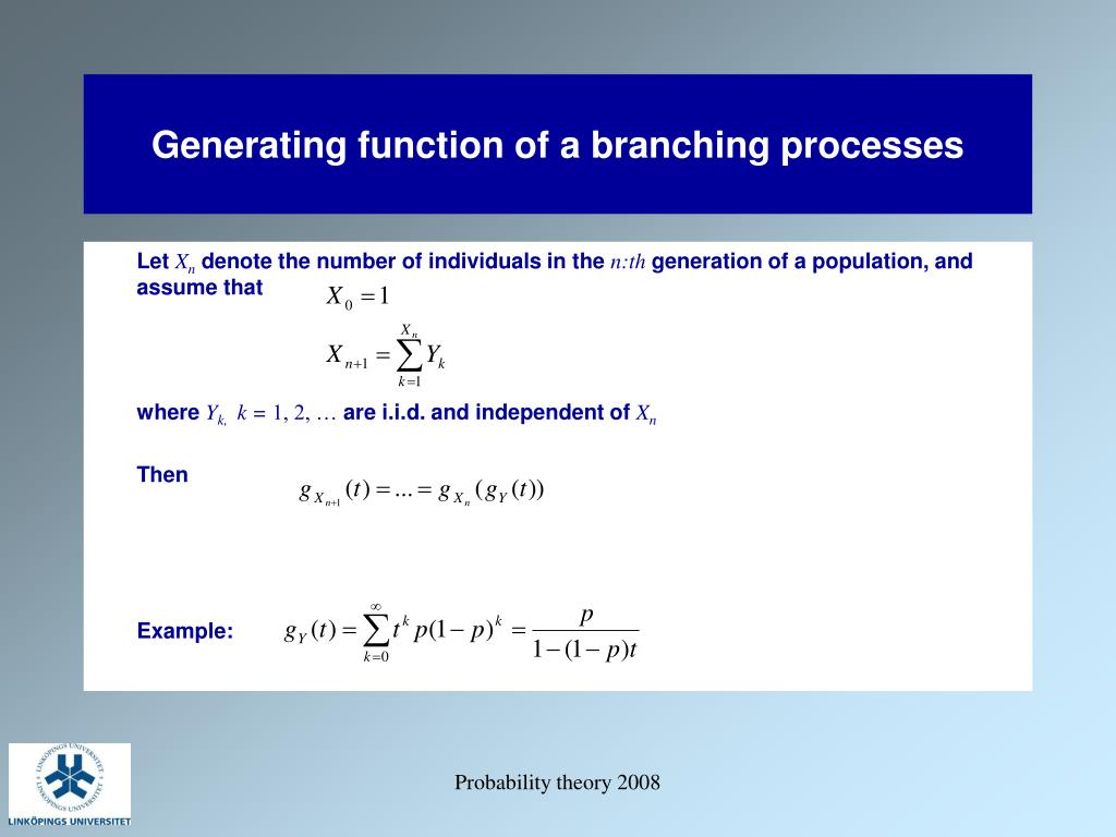 Generating function of a branching processes