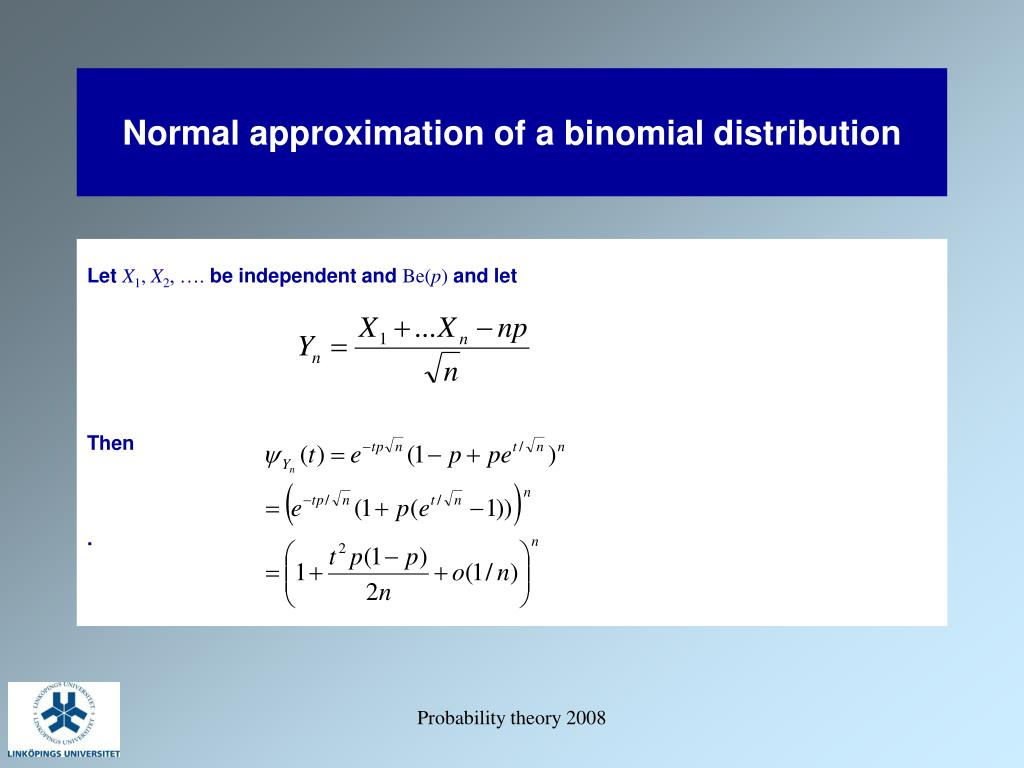 Normal approximation of a binomial distribution