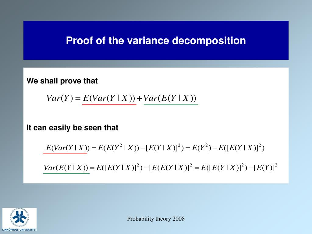 Proof of the variance decomposition