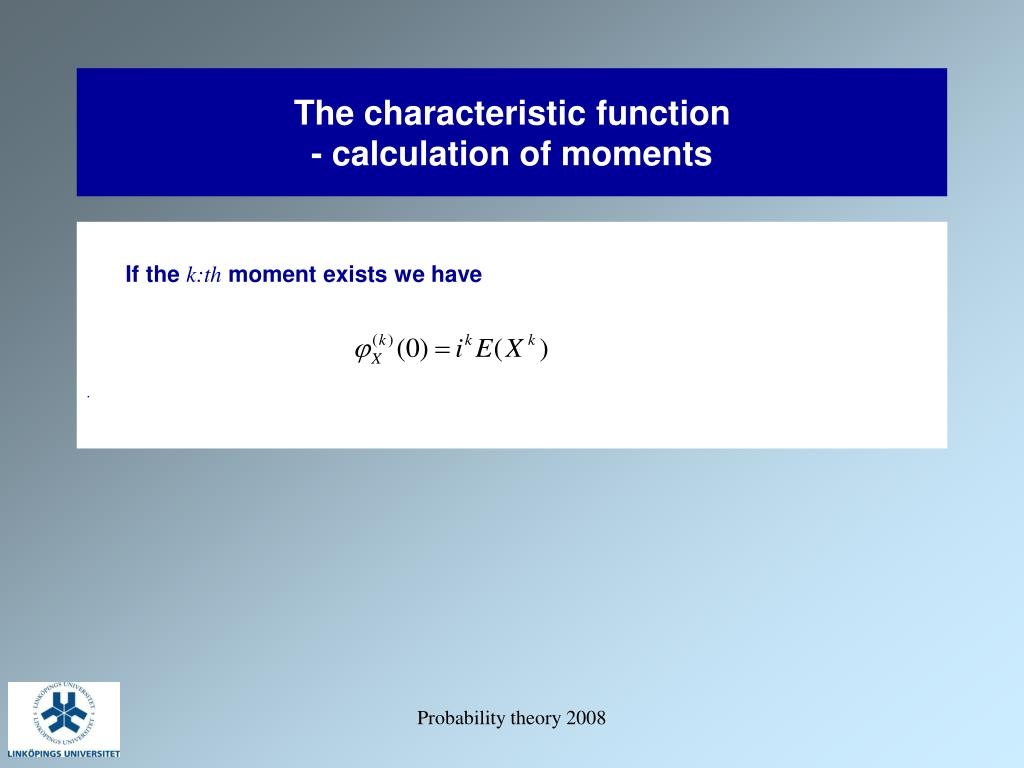 The characteristic function