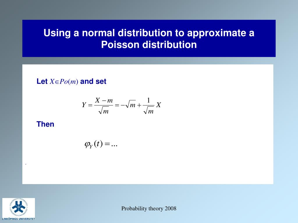 Using a normal distribution to approximate a Poisson distribution