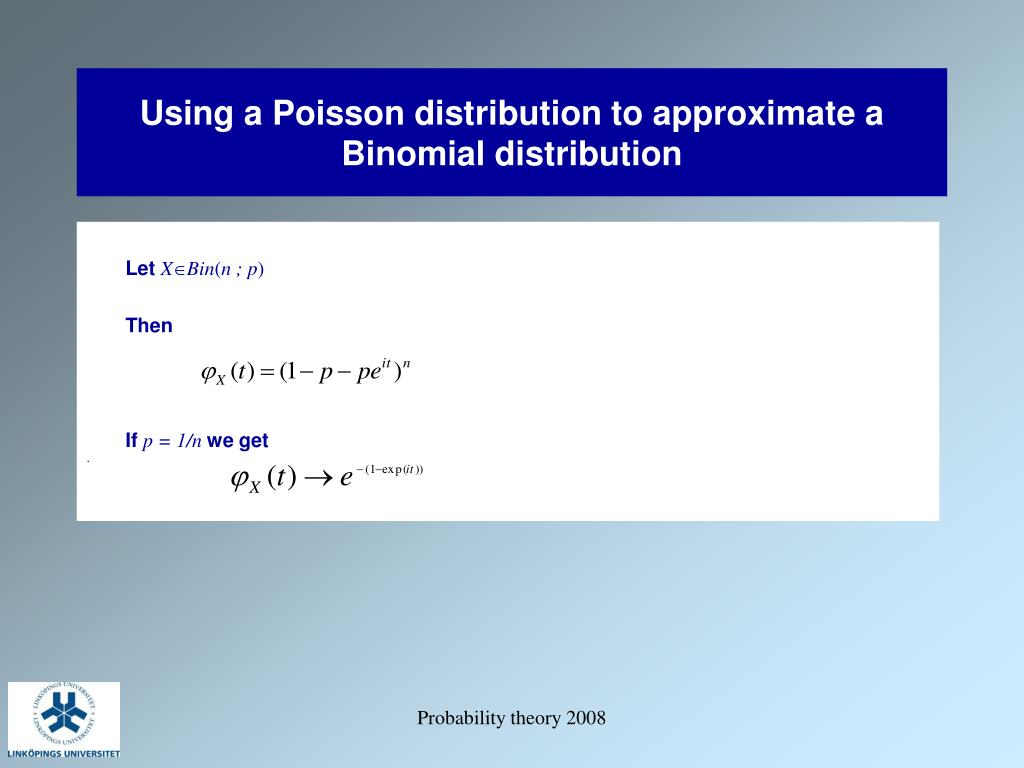 Using a Poisson distribution to approximate a Binomial distribution