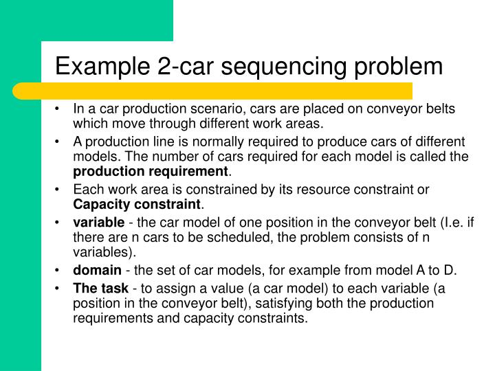 Example 2 car sequencing problem