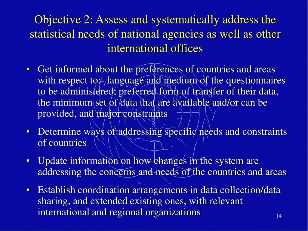 Objective 2: Assess and systematically address the statistical needs of national agencies as well as other international offices