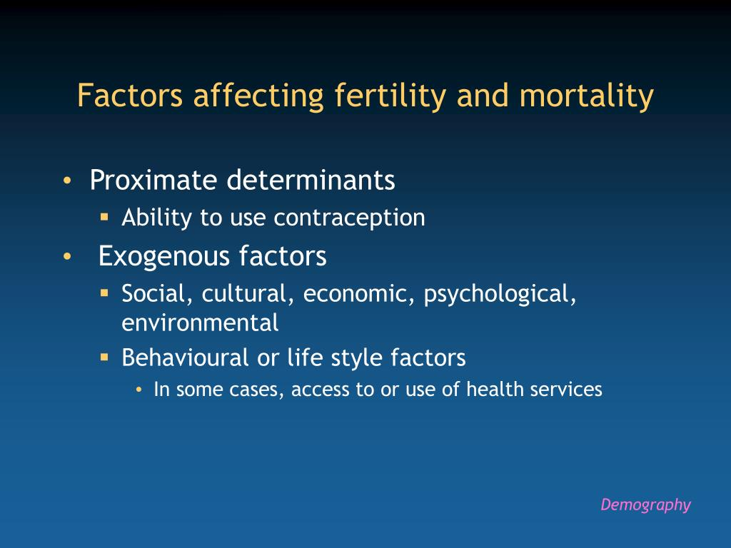 Factors affecting fertility and mortality