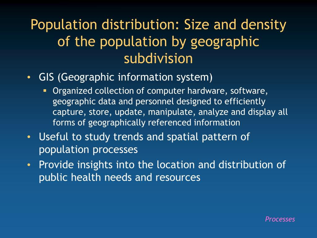Population distribution: Size and density of the population by geographic subdivision