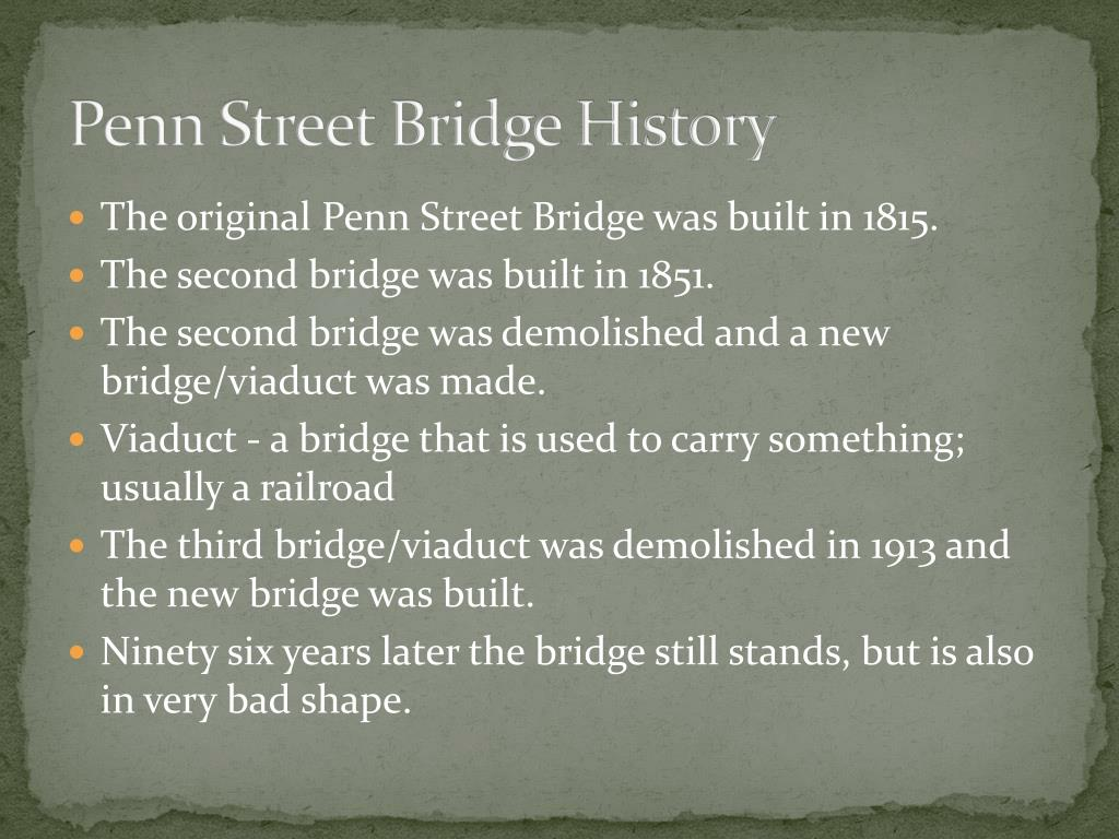 Penn Street Bridge History